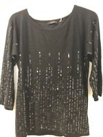 Cyrus Black Front Sequin 3/4 Sleeve Top L Stretch
