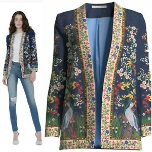 Alice + Olivia Jenice linen floral embroidered jacket, NWOT, size 0, retail $895