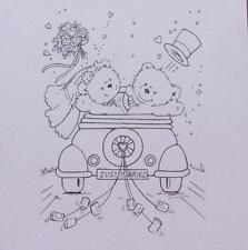 Wild Rose Studio Wedding Bears in Old Car Plain Card Topper