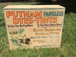 Vintage Putnam Dye Metal/Tin Store Display Countertop Cabinet Advertising 1920's