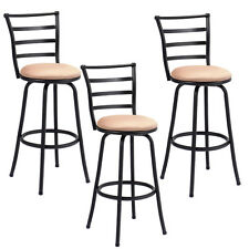 Set of 3 Swivel Bar Stools Steel Frame Counter Height Modern Barstool Pub Chairs