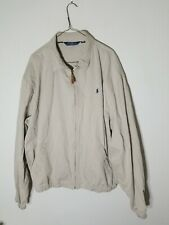 Polo By Ralph Lauren Zip Up Jacket Khaki Tan Cotton  Mens Men XXL