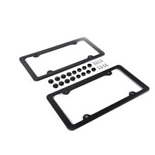 2x Black Front Rear Aluminum Alloy USA License Plate Frame Tag Cover Holder