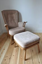 Vintage retro 60's Ercol ercol Evergreen armchair and footstool (model 1913)