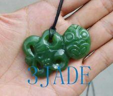 Natural Green Nephrite Jade Maori Hei Tiki Pendant NZ Greenstone Necklace