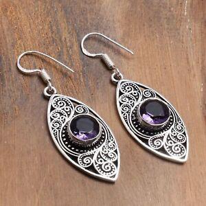 """Amethyst Handmade Drop Dangle Earrings Jewelry 1.92"""" AE 97333"""