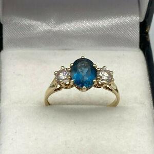 9ct Gold Hallmarked Blue Topaz & Cubic Zirconia Ring.  Goldmine Jewellers.