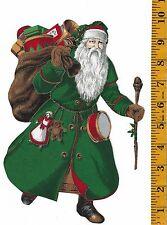 CHRISTMAS SANTA ~GREEN~ IRON-ON FABRIC APPLQUE~NO SEWING ~
