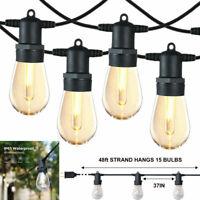 48FT Edison Bulbs Outdoor String Lights Patio Yard Garden Lighting Waterproof