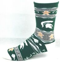 Michigan State Spartans NCAA Ugly Christmas Sweater Crew Socks Green White