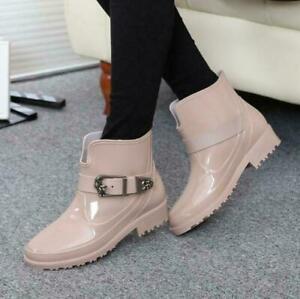 Chic Women's Patent Leather Velvet Short Rain Boots Anti-skip Warm Solid Shoes