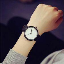 Stainless Steel Faux Leather Big Round Dial Couple Wristwatch Quartz Analog White