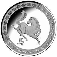 2014 $1 Australia Year of the Horse Proof Silver Coin .999 Silver Australian RAM