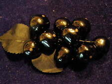 Vintage Millinery Flower All Black Berry Gooseberry Cluster Glass for Hat K44
