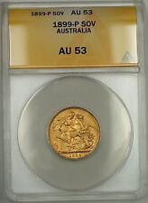 1899-P Australia Sovereign Gold Coin ANACS AU-53 *Quite Scarce*