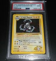 PSA 9 MINT Lt. Surge's Magneton 8/132 Gym Heroes Set HOLO RARE Pokemon Card