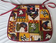 """SET OF 3 KITCHEN CHAIR PADS CUSHIONS w/strings, Roosters, 13"""" x 15"""", FREE SHIP"""