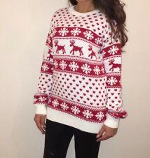 BRAND NEW Red & White 'Lottie' Reindeer/Snowflake Christmas Jumper M/L