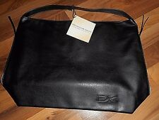 NWT Donna Karan Cashmere Collection Black Faux Leather Tote Weekender Sac Bag