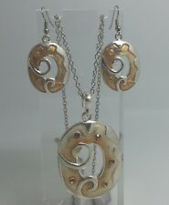 Yellow Oval Silver Coloured Set , Earrings And Necklace  D187 Swirl