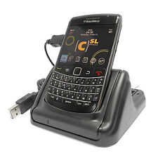 USB Dual DeskTop Docking Cradle w/2nd Battery Charger For BlackBerry Bold 9700