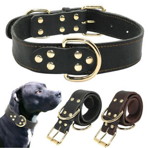 Heavy Duty Genuine Leather Large Dog Collars Adjustable for Rottweiler Pitbull