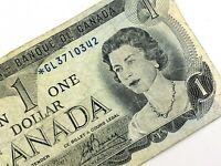 1973 Canada One 1 Dollar Prefix GL Canadian Circulated Replacement Banknote L932