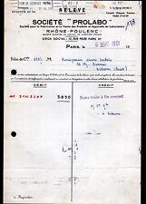 """PARIS (XI°) PRODUITS & APPAREILS de LABORATOIRE RHONE-POULENC """"PROLABO"""" en 1951"""