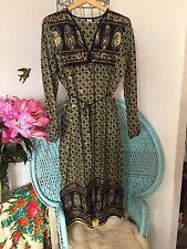 Vestido Boho Bohemio Gitano verde manzana L 16 18 indio Gasa Kaftan hechizo Vintage