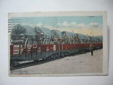 1917 U.S. Army Supply Train on Railroad Cars Postcard
