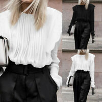 Plus Size Women Sheer Lace Victorian Shirt Pleated Loose Blouse Puff Sleeve Tops