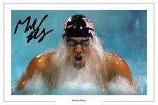 MICHAEL PHELPS SIGNED PHOTO PRINT AUTOGRAPH SWIMMING OLYMPICS