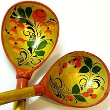 2 x Russian Khokhloma Traditional Gold Lacquered Wood Spoons 20cm, Folk Art