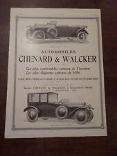Publicité ancienne 1919 Chenard et Walker Pub 41 x 29.5 advert ancètre old car
