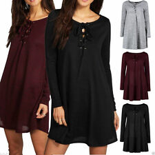 Unbranded Patternless Long Sleeve Skater Dresses for Women