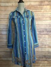 Cake Couture Anthropologie size S Blue Stripe Shirt Dress Gold Embroidered Hem