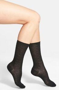 HUE 162698 Women's Black Pretty Pucker Lacy Openwork Crew Socks One Size