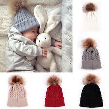 Women Kids Winter Beanie Hat Wool Knitted Bobble  Fashion Large Fur Pom Pom Gift