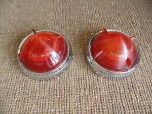 Pair of genuine LUCAS L538 tail light lens & chrome surrounds Daimler Morris etc