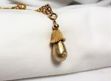 Vintage Sarah Coventry Signed Necklace Baroque Pearl Gold Tone Pendant Statement