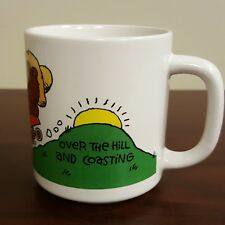 1989 Over the Hill and Coasting Birthday Coffee Mug Smiling Country Red Wagon