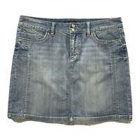 WHBM Womens Skirt size 12 Medium Wash Jeans Short Mini Rhinestone Rivets Stretch