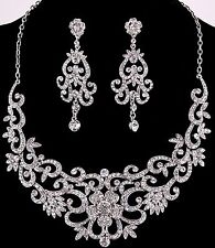 Rhinestone Necklace & Post Earrings Set