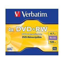 1 x Verbatim dvd + rw 4.7GB 120Min (4x) dvd réinscriptible 43228 dvd + rw