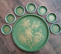 Set Vtg green & Gold coctail Tray + coasters  Flowers  Mid-century MCM Deco A1