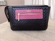 $1650 New Lanvin Beyond Black and Pink Oversized Hammered leather clutch bag