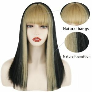 US 16inch Cosplay wig with bangs Blonde Full Head Synthetic hair Fashion