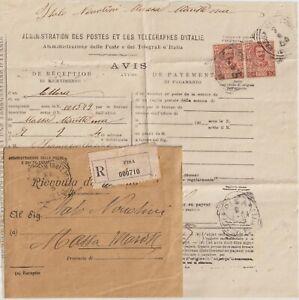 1904 10C COPPIA FLOREALE SU AVVISO DI RICEVIMENTO+RICEVUTA DI RITORNO RACCOMANDA