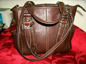 Fossil Blackburn Never Used Small Brown Pebbled Leather Multi-Compartment Bag!
