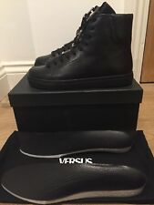 VERSUS VERSACE LION HEAD BUCKLED LEATHER HI-TOP TRAINERS SNEAKERS SIZE UK 7